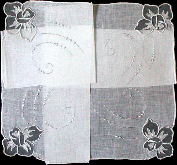 Madeira Sheer White Roses on Irish Linen Vintage Handkerchief