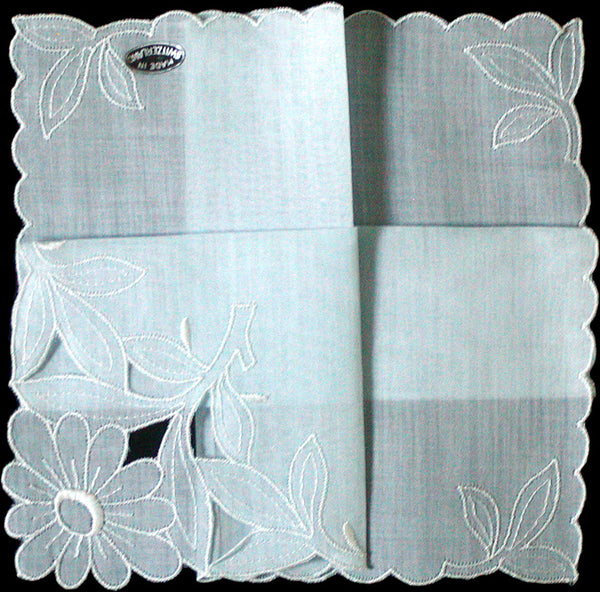 Something Blue Vintage Handkerchief, Made in Switzerland