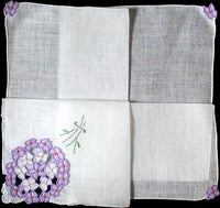 Hydrangea Organdy Applique Cutwork Vintage Handkerchief, Madeira Embroidery