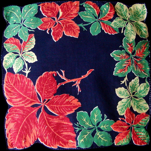 Botanical Fall Color Leaves on Navy Vintage Handkerchief