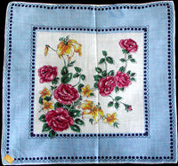Roses & Lilies Vintage Handkerchief, Kimball New Old Stock
