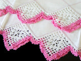 PR Pink and White Crochet Lace Drawnwork Vintage Pillowcases, Tubing