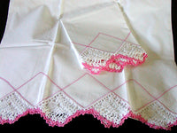 PR Pink & White Crochet Lace Drawnwork Vintage Pillowcases, Tubing