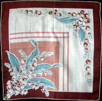 May Flower of the Month Lily of the Valley Vintage Handkerchief, Kimball