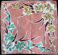 August Flower of the Month Gladiolus Vintage Handkerchief, Kimball