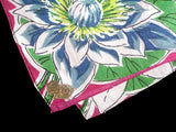 July Flower of the Month Water Lily Vintage Handkerchief, Kimball