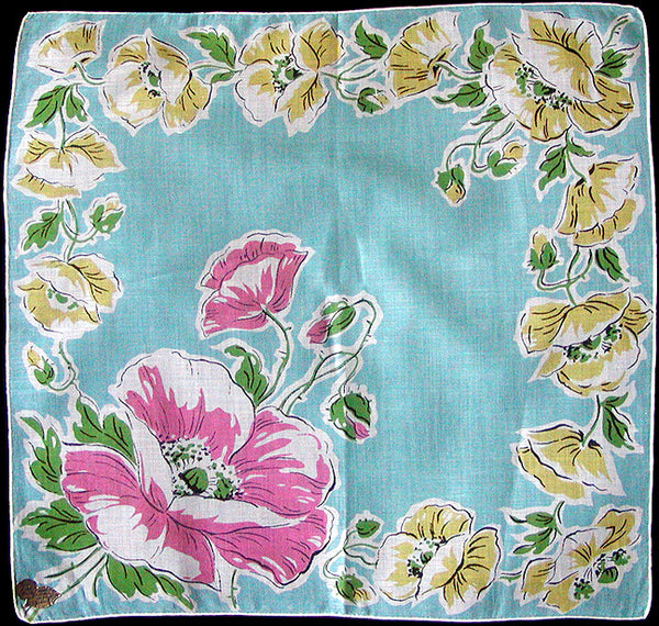 August Flower of the Month Poppy Vintage Handkerchief, Kimball