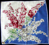 July Flower of the Month Larkspur Vintage Handkerchief, Kimball
