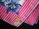 Gingham Floral Vintage Linen Handkerchief, New Old Stock