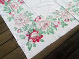 Border of Peonies Vintage Tablecloth 51x64, Rosemary