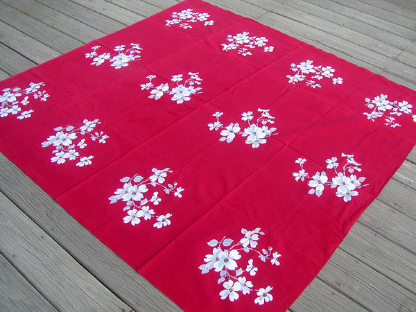 Dogwood on Red Vintage Wilendur Tablecloth 62x65