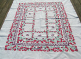 Heavy Weight Strawberries & Flowers Vintage Tablecloth, 58x70