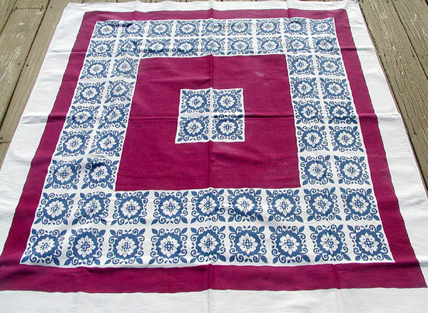 Floral Tile Startex Starglow Vintage Tablecloth 50x58