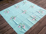Lilacs on Turquoise Vintage Wilendur Tablecloth 48x52