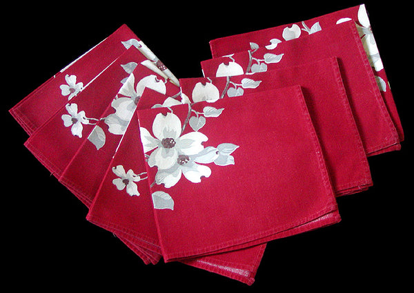 Dogwood on Red Vintage Wilendur Napkins, Set of 8