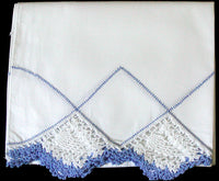 Single Blue and White Crochet Lace Drawnwork Vintage Pillowcase, Tubing
