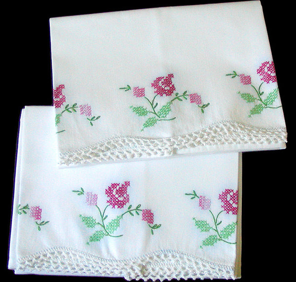 PR Embroidered Vintage Pillowcases Pink Roses w Crochet Lace, Tubing