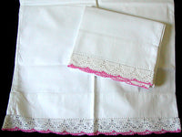 PR Vintage Pillowcases, Scalloped Pink and White Crochet Lace Trim