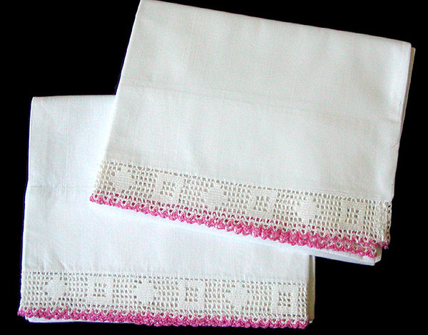 Pair Vintage Pillowcases w Pink and White Crochet Lace Trim