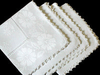 Damask Daisies Vintage Linen Napkins w Faggoting & Picot Edge, Set of 4