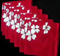 Dogwood on Red Vintage Wilendur Napkins, Unused Set of 7