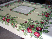 Pomegranates Vintage Fruit & Floral Tablecloth Unused 52x52