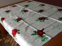 American Beauty Wilendur Red Rose Wheat Vintage Tablecloth 51x54