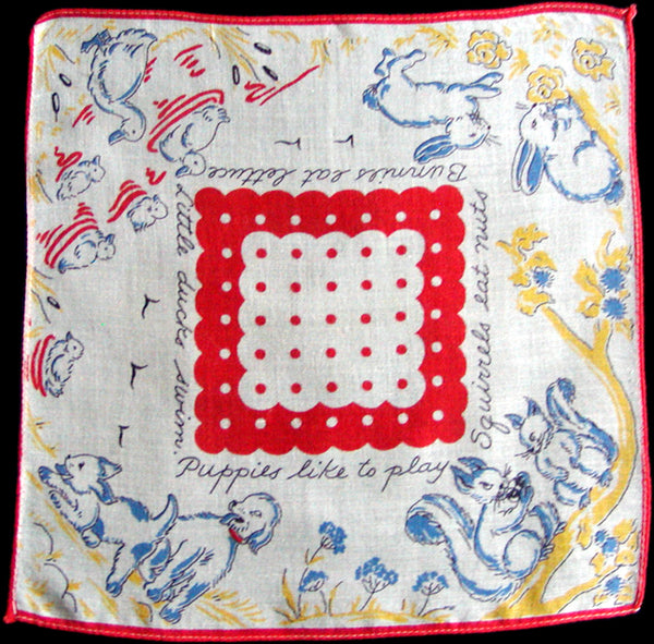 What Animals Do Vintage Child's Handkerchief