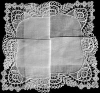 Art Nouveau Lace & Linen Vintage Wedding Handkerchief
