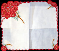 Anice Embroidered Red Rose Posy Vintage Handkerchief, Madeira