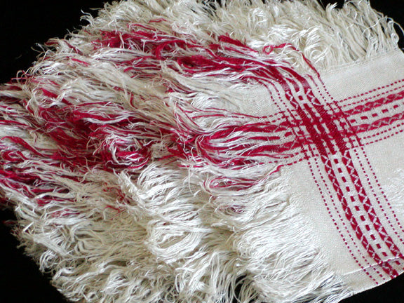 Primitive Turkey Red & White Woven Linen Damask Napkins Fringe, Set of 6
