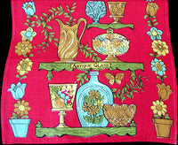 Antique Glass on Red Vintage Irish Linen Kitchen Tea Towel