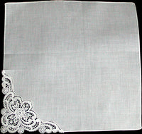 Fancy Floral White Lace Corner Vintage Handkerchief
