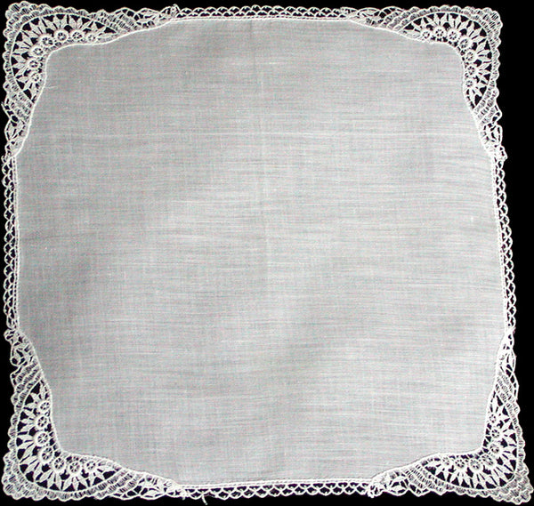 Applique White Lace Border Corners Vintage Wedding Handkerchief