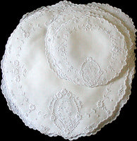 Antique Appenzell Hand Embroidery Girl in Cameo Round Linens, Set of 16