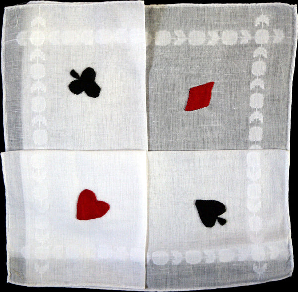 Applique Four Suits Vintage Linen Handkerchief, Madeira