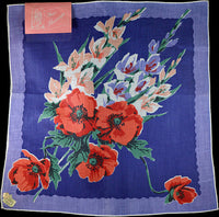 August Flower of the Month Vintage Linen Handkerchief, Kimball