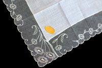Art Nouveau Floral Lace Vintage White Wedding Handkerchief