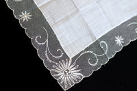 Starburst Floral Lace Vintage White Cotton Wedding Handkerchief