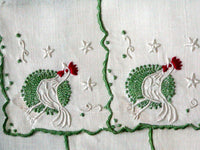 Embroidered Rooster Vintage Linen Cocktail Napkins, Set of 5