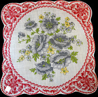 Gray Poppies, Red Ironwork Border Vintage Handkerchief