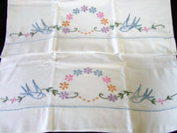 PR Embroidered Bluebirds and Flowers Vintage Pillowcases, Tubing