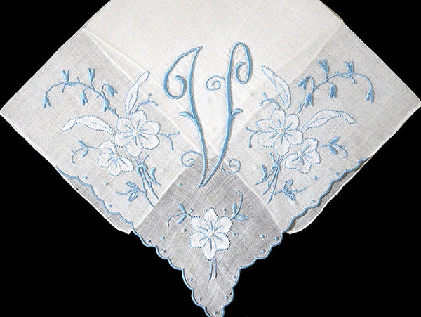 Monogram V Vintage Handkerchief Blue Madeira Embroidery, 14 Inch