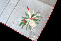 Christmas Candle w Stars Embroid Vintage Handkerchief, Burmel