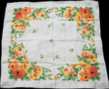 American Beauty Roses w Bees Vintage Linen Tablecloth 50x50