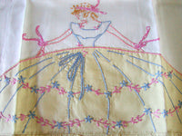 PR Southern Belle Embroidered Vintage Pillowcases Yellow Ruffle