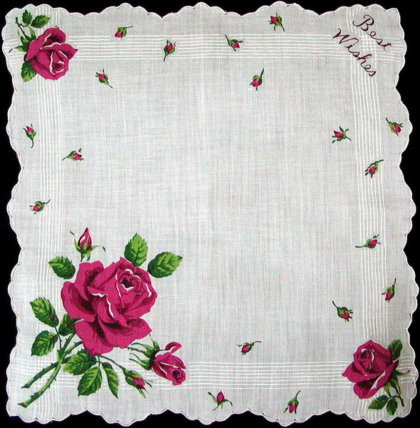 Best Wishes Pink Roses Vintage Handkerchief