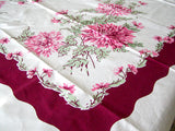 Big Pink Green and Wine Mums Vintage Tablecloth 58x74 Unused