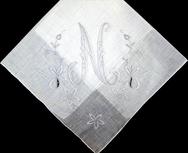 Monogram N Vintage Handkerchief Gray Madeira Shadow Embroidery