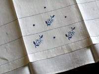 Blue & White Vintage Madeira Linen Guest Towels, Pair